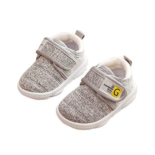 DEBAIJIA Zapatos para Niños 3-18M bebés Caminata Zapatillas Niños Niñas Suela Suave Lona Material Antideslizante 20/22 EU Gris (Tamaño Etiqueta 20)