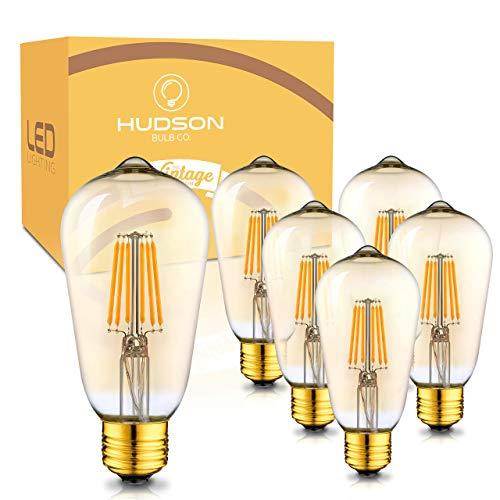 Bombillas LED Edison regulables: 6 W, 2700 K, tono dorado ámbar, equivalente a 60 W, base E26, juego de bombillas vintage, 6 unidades