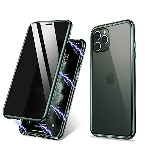 iPhone 11 Pro Max Case, ZHIKE Anti-Peep Magnetic Adsorption Case Front and Back Tempered Glass Full Screen Coverage One-Piece Design Flip Privacy Cover (Anti Spy-Midnight Green)