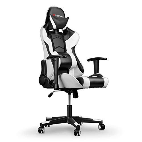 mfavour Gaming Racing Desk Chair Adjustable Computer Office Chair with Lumbar Support and Head Pillow PC Chair, Ergonomic Design with Cushion and Reclining Back