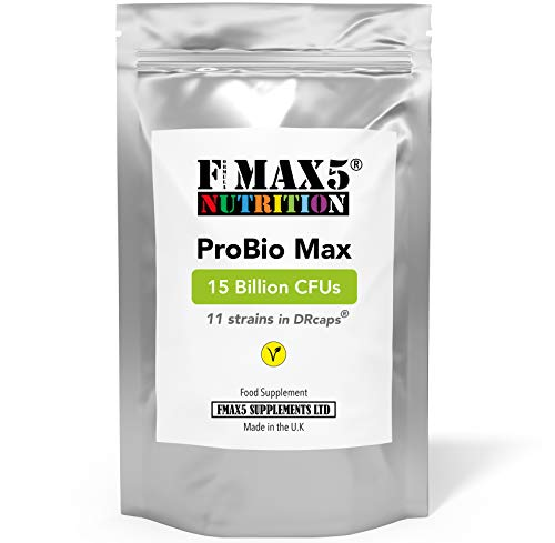 ProBio Max 60 Capsules | 11 Strains in DRcaps | High Strength 15 Billion CFUs Includes Lactobacillus Acidophilus & Bifidobacterium | Vegan Capsules not Tablets by FMax5