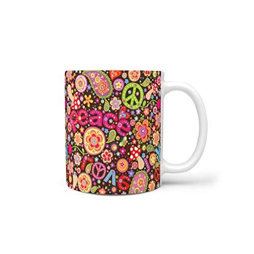 O5KFD&8 - Taza de café (cerámica, con asa), diseño de mandala, cerámica, blanco, 330ml
