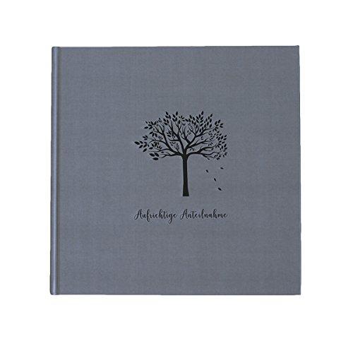 in due–Libro de condolencias 'Aufrichtige pésame' algodón Gris Negro 21x 21cm, 144páginas Blanca Papel en Blanco Gris de Consolación luto