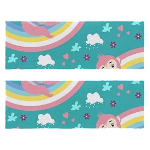 Toallas de gimnasio mono arco iris paraíso impresión secado rápido microfibra deporte entrenamiento sudor toalla para hombres y mujeres paquete de 2