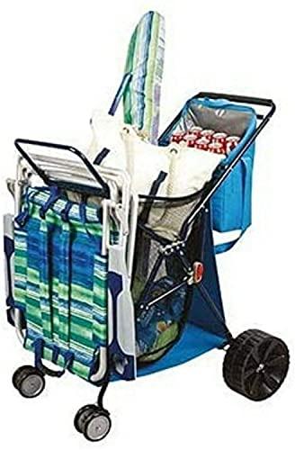 Carro De Playa Plegable con Nevera y portasillas | Compatible con sillas de Playa Bajas Tommy Bahama | EUROXANTY