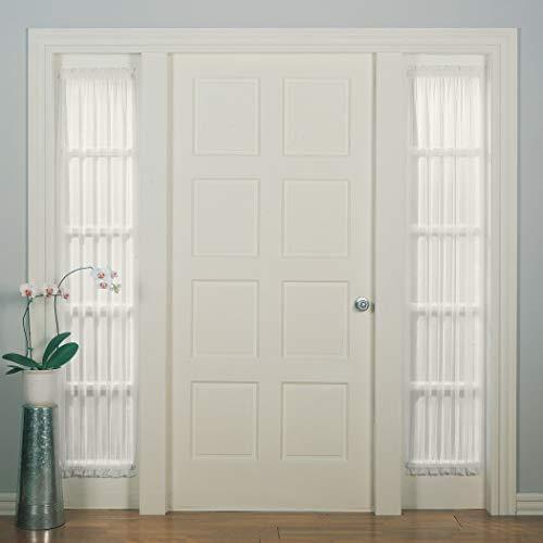 "No. 918 Emily Sheer Voile Single Curtain Door Sidelight Panel, 28"" x 72"", Eggshell"
