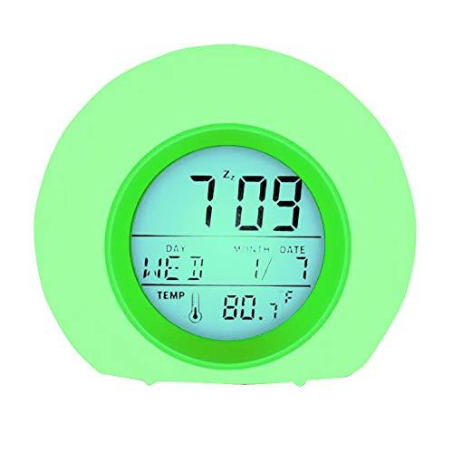 Yues alarma infantil, despertador digital con 6 melodías, luz nocturna con 8 colores, calendario, termómetro y control táctil suave, verde