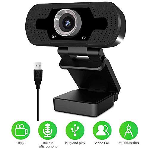 YENOCK Webcam mit Mikrofon 1080p für PC & Laptop USB 2.0 für Videokonferenzen, Online-Kursstudium, Aufnahme, Videoanruf mit vorgefertigtem Mikrofon