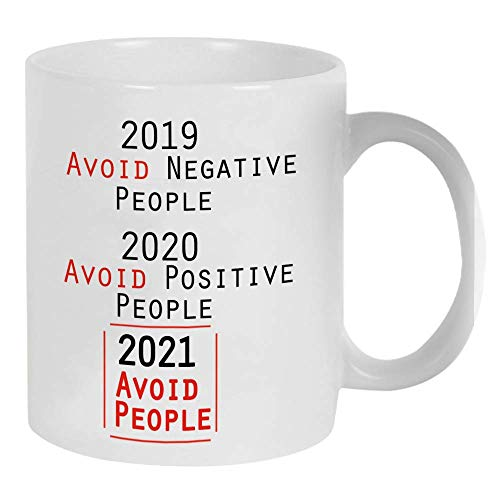 Fatbaby 2021 Avoid People Quarantine Funny Ceramic Mug Gift for Coworkers,Special Year Social Distance Birthday Gifts Mug for Friends , Neighbors,Gift Cup 11oz for Employees