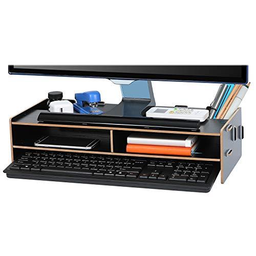 Tonsmile Monitor Bildschirm Ständer Monitorerhöhung Bildschirmerhöher Monitorständer aus Holz (48*20*11cm)
