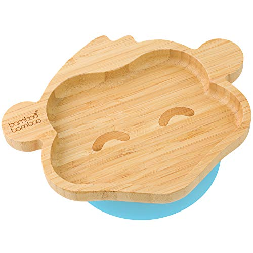 bamboo bamboo Baby Toddler Monkey Suction Plate, Stay Put Feeding Plate, Natural Bamboo (Blue)