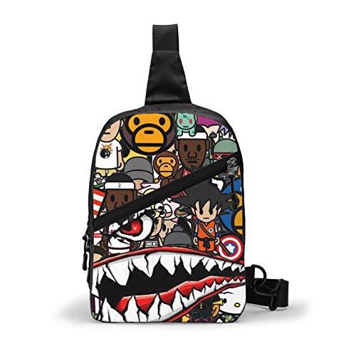 Sling Backpack Ba-pe Shark Crossbody Shoulder Bag Chest Daypack For Gym Travel Hiking