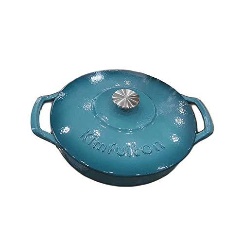 Kimfulton Cast Iron Pot Enamel Pot, Dutch Oven, Multi-Colors Available, 4.5 Quart (LAKE BLUE)