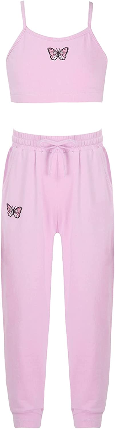 Hedmy Kids Girl Two Pieces Hip Hop Sport Suits Crop Tops with Athletic Leggings Outfits for Dance Gymnastics Workout