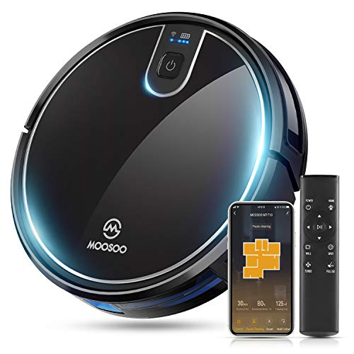 MOOSOO Robot Vacuum,1800Pa Super Thin Robotic Vacuum Cleaner, 120Mins Max Run Time, Multiple Cleaning Modes/Automatic Self-Charging Robot Vacuum for Pet Hair, Hard Floor to Medium-Pile Carpets-MT-710 Dining Features Kitchen Robotic Vacuums