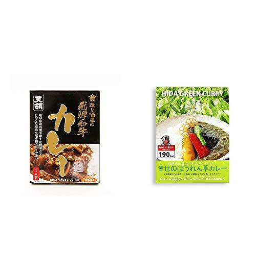 [2点セット] 造り酒屋の飛騨和牛カレー【中辛】 (1食分)・飛騨産 幸せのほうれん草カレー(180g)