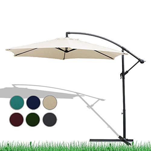 Gartenschirm, Aluminium Ampelschirm mit Kurbel und Ständer, Mechanismus mit LED-Beleuchtung Aluminium Sonnenschirm Regenschirm Sonnenschirm Marktschirm,3m