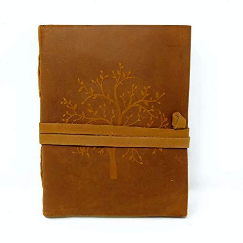 Taccuino in pelle artigianale con albero della vita, 18 x 13 cm, design vintage in colore marrone e incisione in rilievo con un bellissimo albero, 240 pagine di carta ecologica bianca liscia