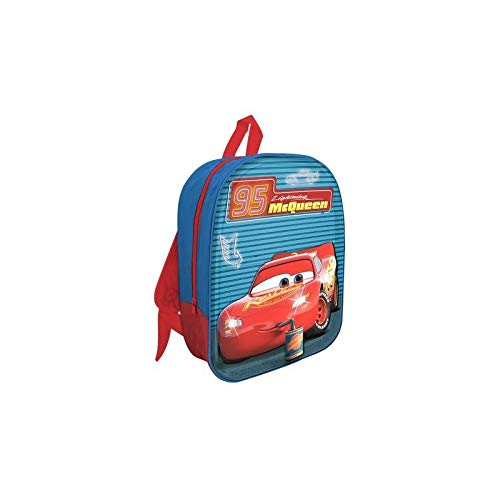 41vM4C+P 3L - MC Mochila LED 3D Cars Mochila para niños, 32 cm, Azul/Rojo