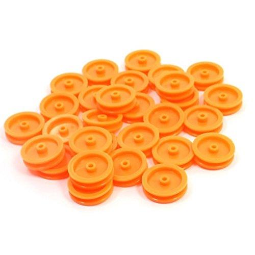 TOOGOO(R) 30 Piezas de Polea de correa Anaranjado polea de 2mm de agujero para DIY RC Juguete coche avion