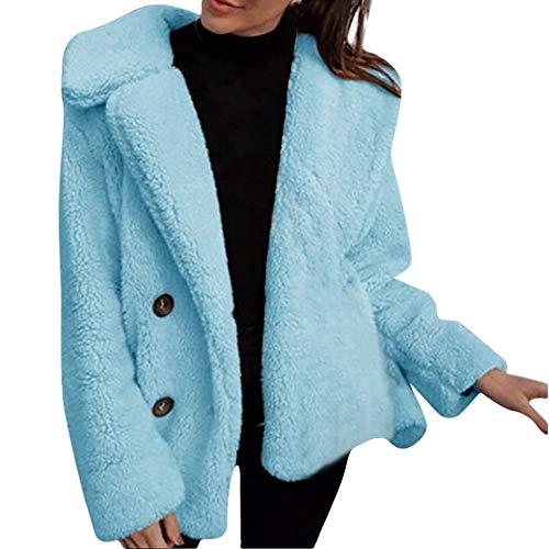ESAILQ Frau Parka Jacke Mantel Winter Lässige Warme Solid Outwear Außenmantel (Blau, M)