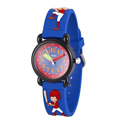 WOLFTEETH Kinder und Jugendliche Uhr Analog Quarz mit Plastik Armband 308105 Baseball Blau MEHRWEG