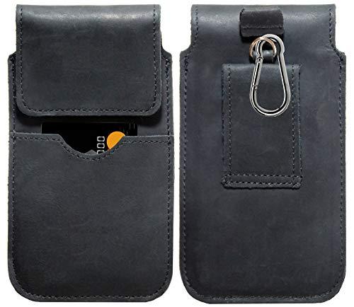 MOELECTRONIX ECHT Leder Hüft Gürtel Tasche passend für LG G8X ThinQ | Gürteltasche mit Karabinerhaken & Schlaufe | Seiten Quer Schutz Hülle Lederhülle | XL Schwarz