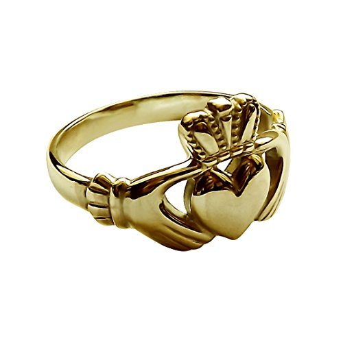 9ct Yellow Gold Claddagh Ring 11.8mm Ladies Irish Made Size M