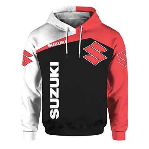 Cronell Story Unisex Langarm Hoodie 3D Digital International Suzuki Logo Print Sweatshirt Lässiges Sweatshirt (1,2XL)