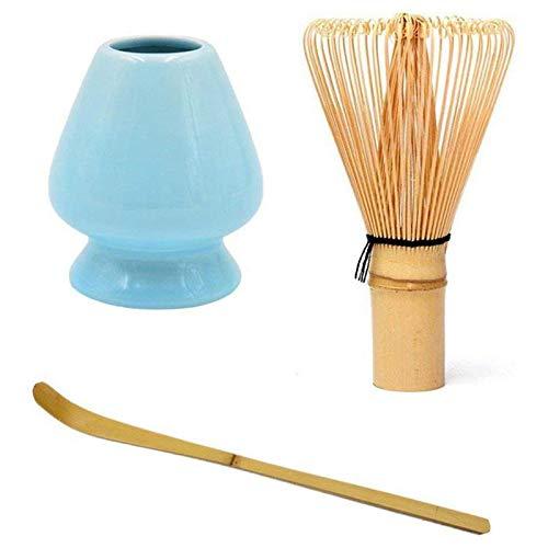 WOVELOT Japanische Bambus Matcha Schneebesen Pinsel Professionelle GrüNtee Pulver Schneebesen Chasen Tee Zeremonie Bambus Pinsel Werkzeug Schleifer (Blau)