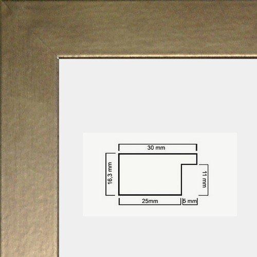 Monika Holzwerkstoff Bilderrahmen schlicht elegant 50 x 60 cm Farbe und Verglasung wählbar 60x50 cm, Hier Bronze Dekor mit Acrylglas Antireflex 1mm