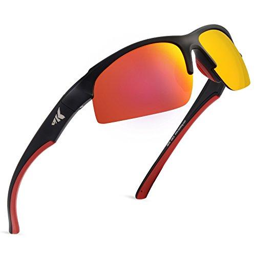 KastKing Cuivre Polarized Sport Sunglasses for Men and Women, Matte Black Frame, Copper Base Scarlet Mirror