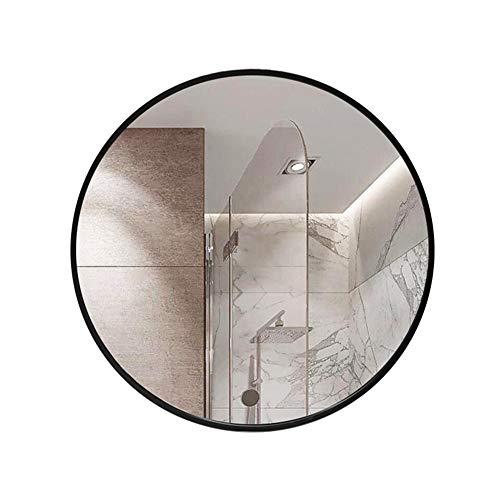 YXW Espejo de Pared Redondo Negro Espejo Decorativo, Grande Espejo Baño de Metal Negro, para Dormitorio Baño Entrada Sala de Estar Espejo Dorado (60cm/80cm)