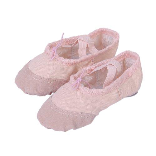 Filles Chaussures De Ballet Nouvelles en Toile Chaussures de Danse EU 24-30 - Rose - 24