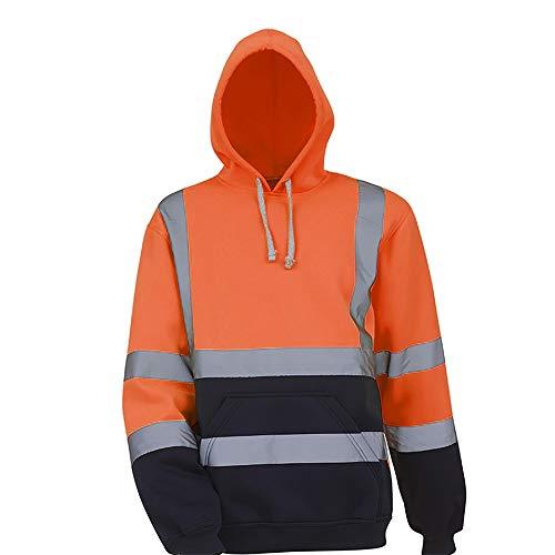 Sudaderas con capucha reflectantes de lana para hombre, pulóver de trabajo en la carretera de primavera, sudaderas de manga larga, sudaderas con capucha negras para hombres, ropa de trabajo