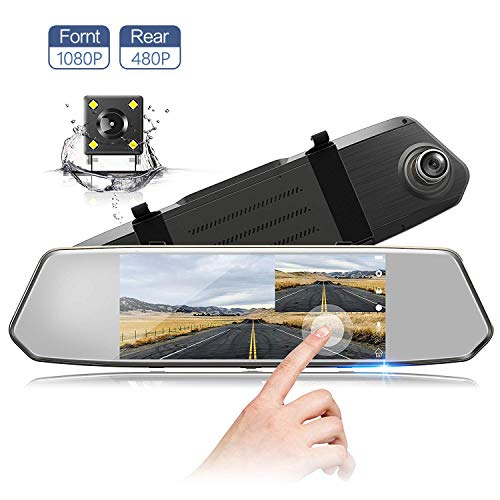 7 Inch Touch Screen Rearview Mirror Car Camera 7' Dash Car DVR Cam Front and Rear Dual Lens Night Vision Video Recorder Reversing Backup Camera