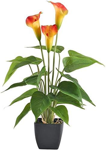 XIHEJD Künstliche Blumen Fake Flowers Bouquet Garland Pflanzen Calla-Lilien-Blumen-Topf Begrünung Bush Im Freien Garten-Hängen Innen Zuhause Küche Büro Tischdekoration Vase Korb