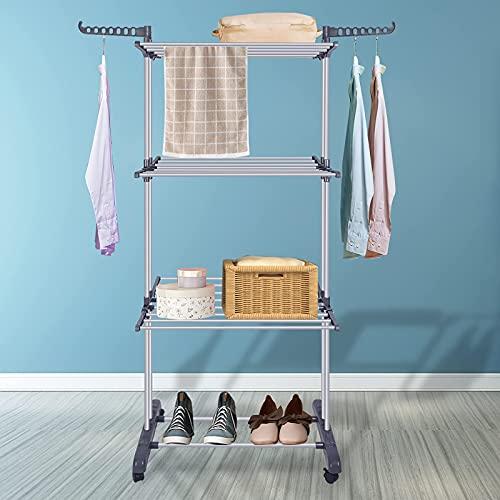 Bigzzia Clothes Drying Rack - Tendedero de 3 Piezas colapsible, Enrollable, con Ganchos para Interior