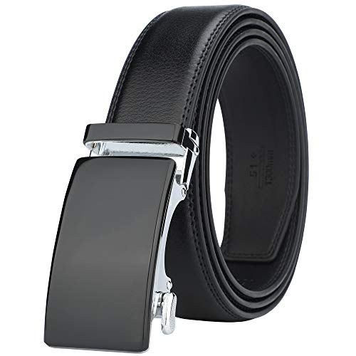 Lavemi Men's Real Leather Ratchet Dress Belt with Automatic Buckle,Elegant Gift Box(55-44308 Black)