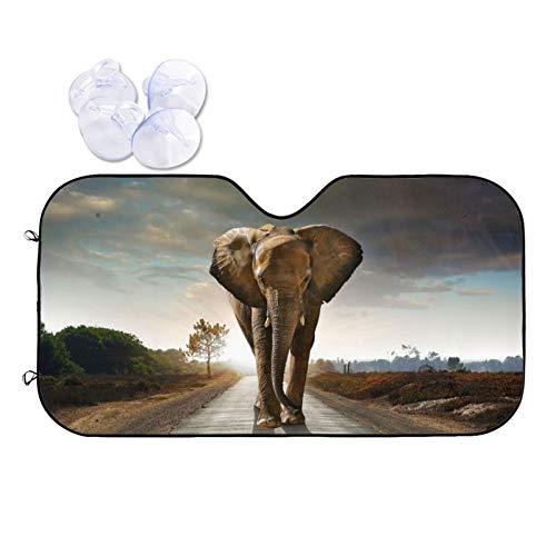 "Car Windshield Sun Shade Sunset Elephant Walking On The Road for Auto SUV Truck(51""X 27.5"") Foldable Uv Ray Reflector Front Window Sun Shade Visor Shield Cover"