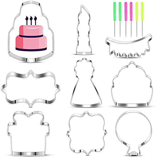 9 Pieces Birthday Cookie Cutter Set in Birthday Cake, Birthday Hat, Candle, Balloon, Banner, Present, Cupcake and Plaque Shape Stainless Steel Biscuit Cutter and 6 Pieces Sugar Stirring Pins