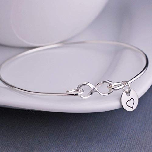 Sterling Silver Infinity Bangle Bracelet with Heart Anniversary Gift for Wife Gift for Girlfriend Birthday Gift