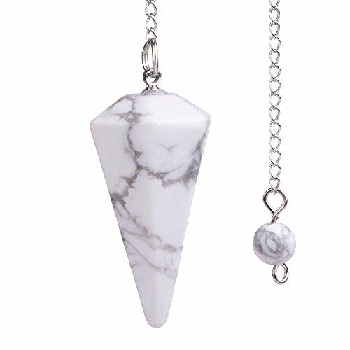 Natürlicher weißer Howlith-Edelstein, Bergkristall, sechseckig, spitz, Reiki-Chakra-Anhänger, Pendel
