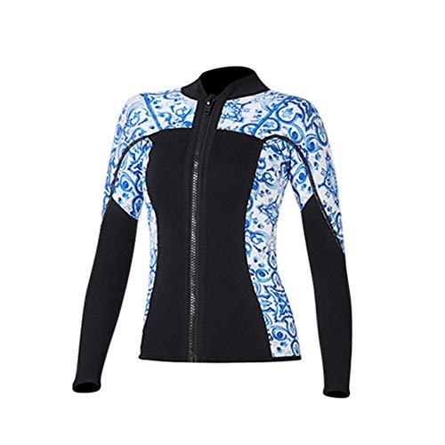 TZTED Tauchanzug Jacke 3MM Neoprenjacke Wassersport Neoprenanzug Herren Damen Wetsuit Top Rash Guard Surfanzug Saunaanzug,Women~Blue,S