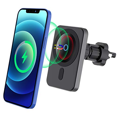 Magnetic Wireless Car Charger,Hohosb Mag-Safe Wireless Car Charger [Magnetic Attachment and Alignment], Compatible with iPhone 12/12 Pro/12 mini/12 Pro Max Fast Charging Car Mount -N6-Square-Black