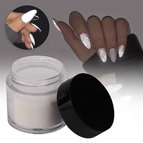 Fluorescenza notturna Pigmento, Polveri fluorescenti, unghie effetto zucchero polvere glitter unghie bianco Nail Art Polvere Decorazioni luminose Bagliore nel buio Vernice acrilica Set Vernici(bianca)