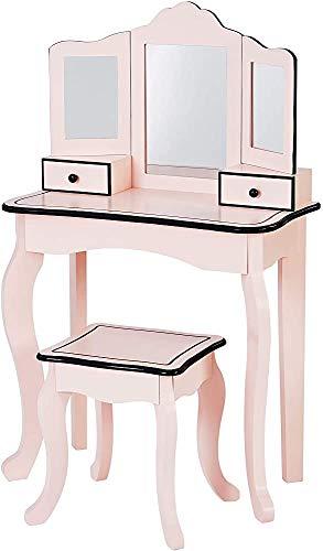 Mesa de tocador, juego de tocador con patas redondeadas y de ventilador en la mesa y taburetes, que proporciona un espacio de almacenamiento espacioso,Pink