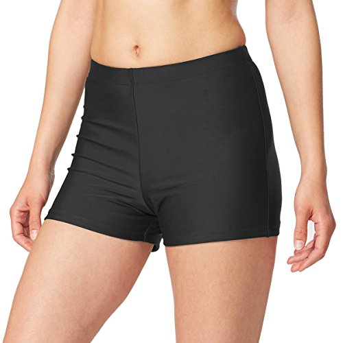 BALEAF Women's Basic High Waisted Boy Short Swim Bikini Tankini Bottom with Liner Black Size XL