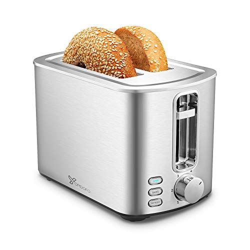 YOPIDOFO 2 Slice Toaster, Stainless Steel Toaster with 6 Bread Shade Setting, Cancel, Defrost,Bagel Function for Home Family