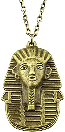 Yiffshunl Necklace Egyptian Queen Pendant Necklace Antique Bronze Color Necklace 50X35Mm for Women Necklace Gift